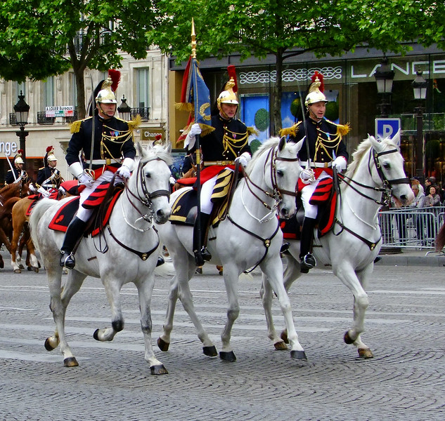 French mounted guard chasseurs - dating back to the days of Napoleon - on parade during the Victoire 1945 Day.