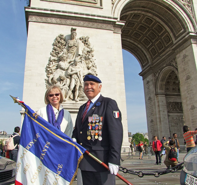 A French Veteran with many medals who participated in the ceremony.