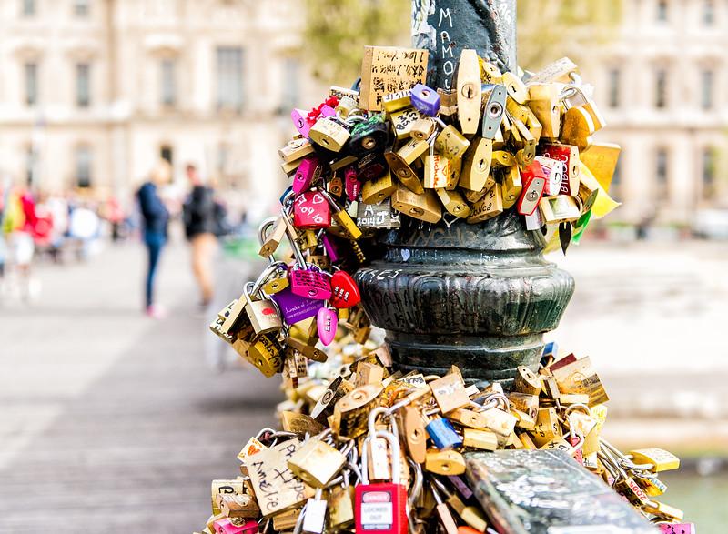 Lover's Locks on Pont des Arts Bridge in Paris