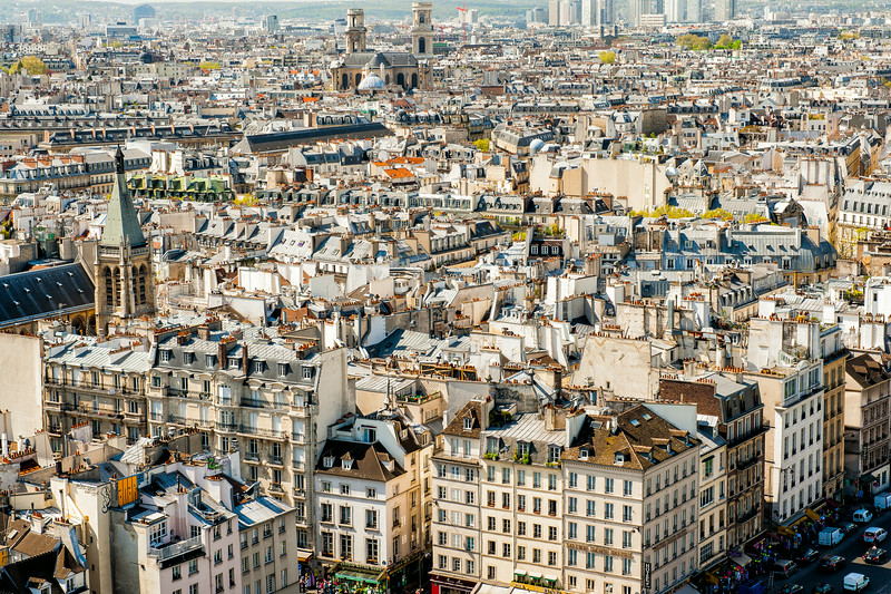 Paris Rooftops as viewed from atop the Notre-Dame Cathedral