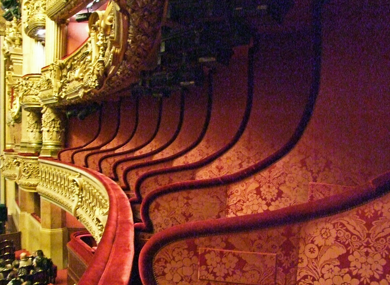 Velvet box seating.