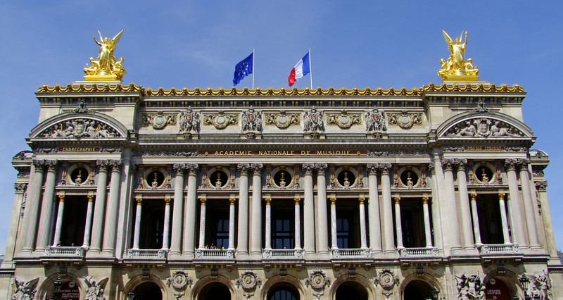 Front of the Opera Garnier (Paris Opera House).  It was designed by Charles Garnier and completed in 1875.  It is one of the most beautiful opera houses in the world.