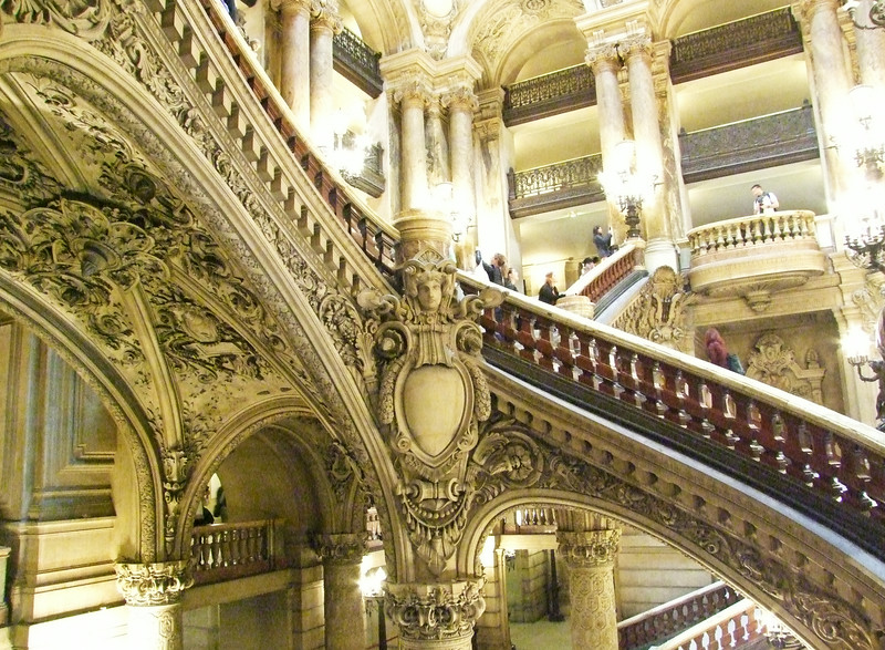 The beautiful main staircase within the Opera Garnier.