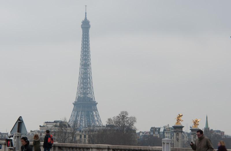 Eiffel tower from Seine river bridge