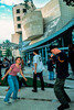PARIS, France - Young Teenage Couple Dancing at Public Events, Fete de la Musique, Techno Music at Cinematheque Bldg., Bercy Park, Cinematheque Building in Back