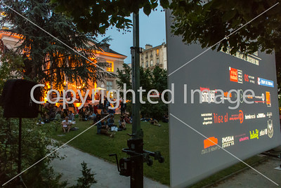 "Paris, France, French Outdoor Photo and Film Projection in Menilmontant Park, ""Les Nuits Photographiques"" 27 June 2014"
