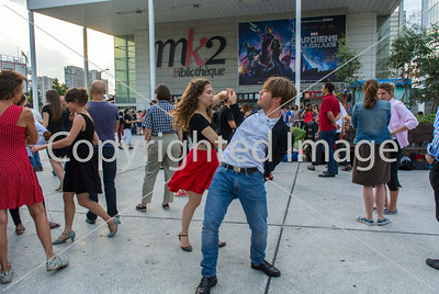 Paris, France, Tourists enjoying Public Events, Street Dancing, Bibliotheque Area