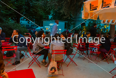 """Paris, France, French Outdoor Photo and Film Projection in Menilmontant Park, """"Les Nuits Photographiques"""" 27 June 2014"""