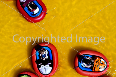 PARIS, France  - Vincennes Park, Foie de Trone Amusement Park in Spring, Children Driving in Water Bumper Cars. View from Above. Directphoto