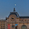 Moon over Cote de Seine (Seine side) of the Musee d'Orsay
