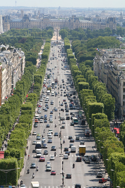 View from L'arc down the Champs-Elysees.