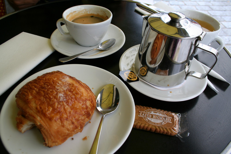 My typical breakfast: pain au chocolate with a steaming cup of hot chocolate--why not?