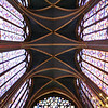Looking up in Sainte-Chapelle, the cathedral built to house the Crown of Thorns.