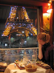 Me enjoying the view of the sparkling Eiffel tower on a dinner boat cruise up the Seine.