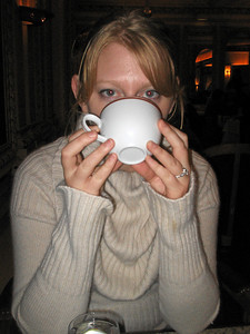 Enjoying the most delicious hot chocolate in the whole world (at Angelina's on Rue Rivoli for those of you who may end up in the neighborhood). We came here 3 times on our 9 day trip.
