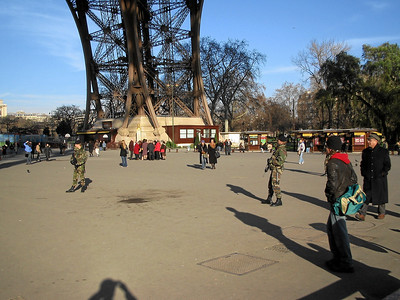 Under the Eiffel tower there area a bunch of these guys with assault rifles.