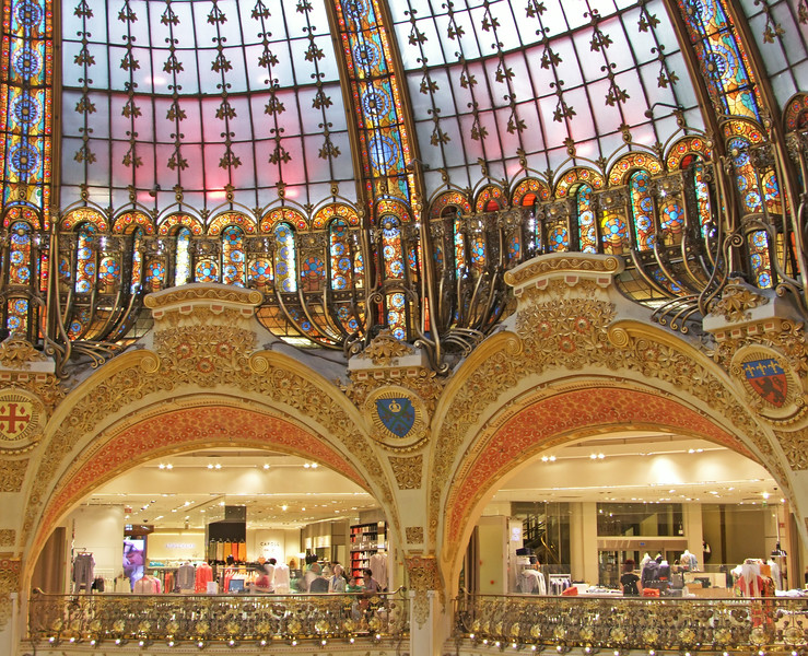 Shops within the Galeries Lafayette along with its stained glass dome.