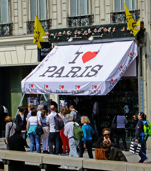 A popular shop for souvenirs along the Champs-Elysees.