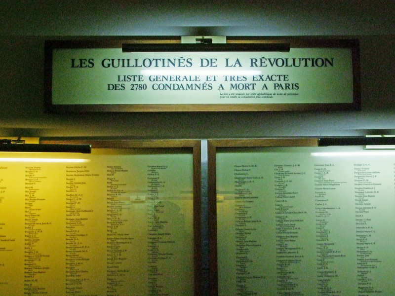 The names of the 2,780 people who were executed in Paris during the French Revolution by the guillotine.  The French Revolution began in 1793.