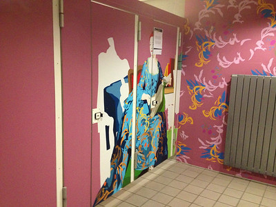 This is the ladies room in the airport down by the baggage area.