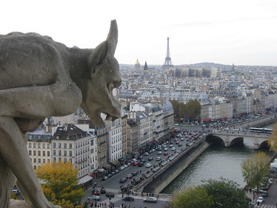 A chimera or a gargoyle?  I'm not sure, but there is a difference.  These rest atop the Cathedral of Notre Dame.