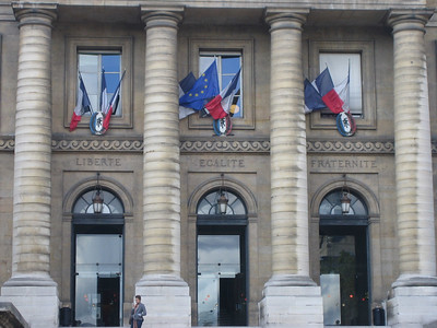 The entrance to the Palais de Justice is marked with the words of the French Revolution:  Fraternite, Egalite, Liberte.