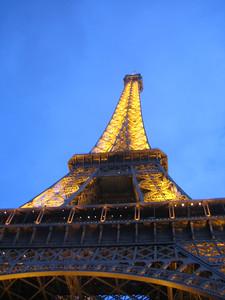 The Eiffel Tower in the evening.