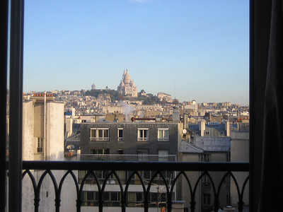 View from the hotel room - Basilique du Sacre Couer (the Church of the Sacred Heart) in thte distance.