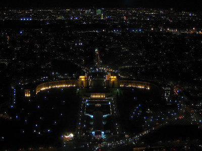 View at night from the Eiffel Tower.