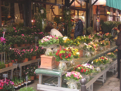 A flower market in the Montremarte district.