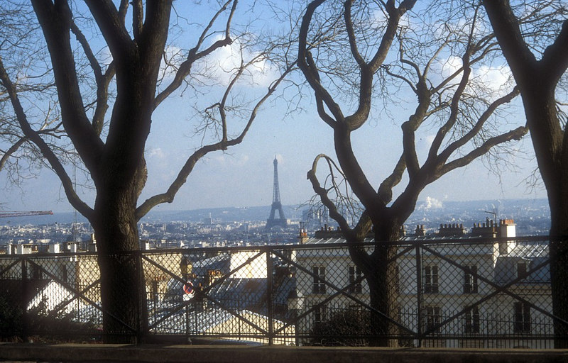 A winter view from Montmatre Hill to the Eiffel Tower