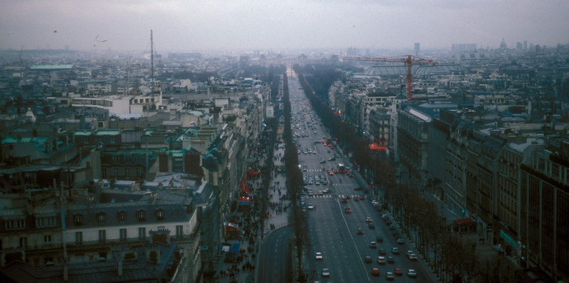 View from Arc de Triomphe - along the Champs Elysees towards Place de la Concorde and the Tuilleries (Garden)