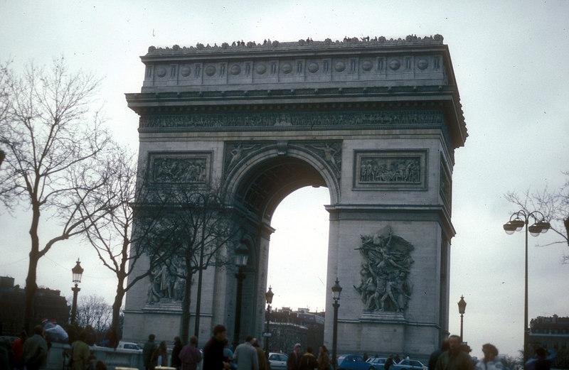 The Arc de Triomphe at the Place de Charles de Gaulle on the top of Chaillot Hill. It was begun in 1806 by Chalgrin to the order of Napoleon in memory of the Great Army. It was not completed until 1836.