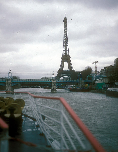 The Eiffel Tower from a 'bateau mouche' on the River Seine.