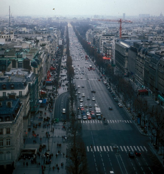 View south east from Arc de Triomphe - along the Champs Elysees towards Place de la Concorde and the Tuilleries (Garden). The Champs Elysees was created in 1709.
