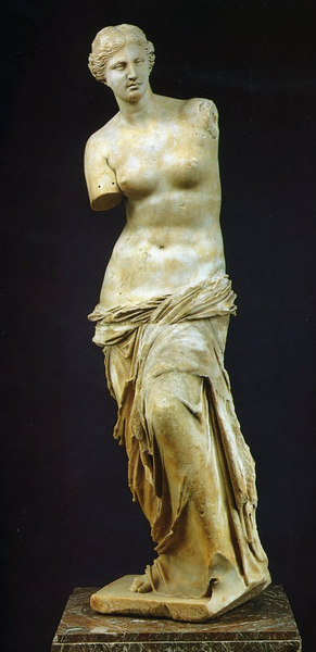 Treasures of the Louvre - arguably the best known piece of sculpture in Paris' ancient art museum, the Venus de Milo, dating from about 100BC