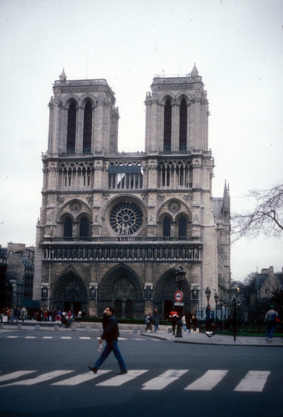 """Notre Dame, built on the site of an ancient Christian basilica, was begun by Bishop Maurice de Sully in 1163.<br /> <br /> See also<br /> <br />  <a href=""""http://www.elore.com/Gothic/History/Overview/paris.htm"""">http://www.elore.com/Gothic/History/Overview/paris.htm</a>"""