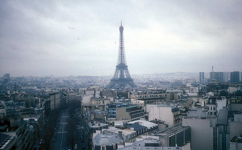 The view of the Eiffel Tower from the top of the Arc de Triomphe.