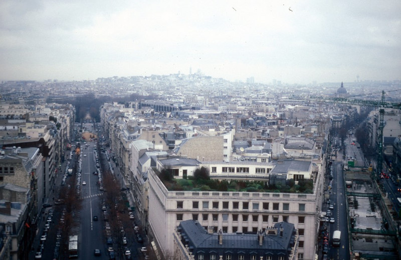 View from Arc de Triomphe - 12 main Parisian arterial roads radiate out from the Place de Charles de Gaulle.
