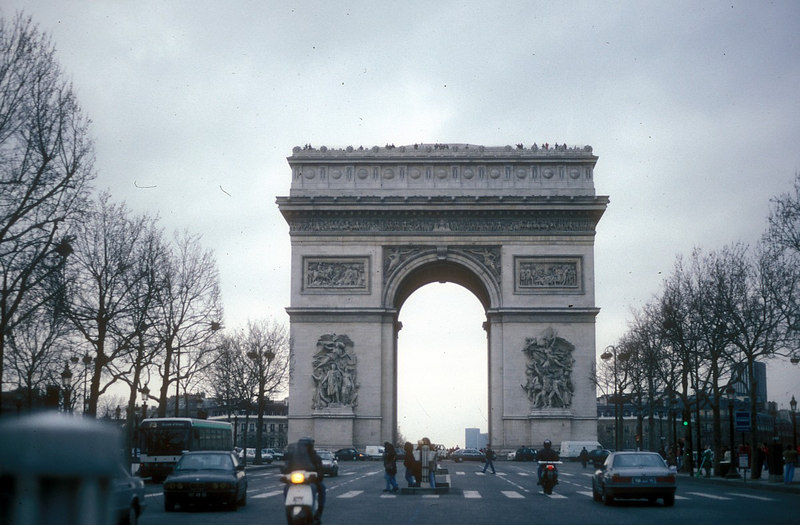 The Arc de Triomphe from the Avenue des Champs Elysees. It celebrates all of the major victories of Napoleon.