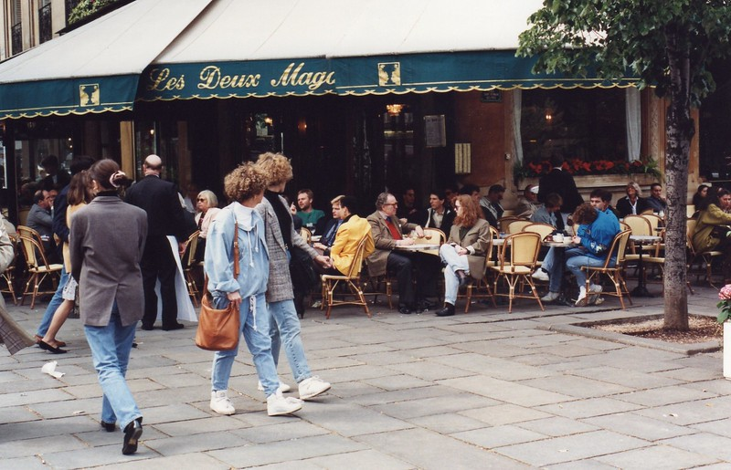 Cafe Les Deux Magot on blvd Saint Germain. Janet Flanner, writer and good friend of Hemmingway,  had an apartment just to the right a block down on rue Bonaparte.
