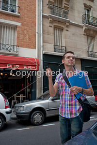 """Adult Tourist Group Taking Gay History Tour of 1980's Paris by Tour Guide, Hervé Taulière. (dit Le Tapie) Site of Former First Gay Bar in the Marais District """"Between 1979 and 1982, The Gay Paris saw a pivotal time in its history: Public Bars, clubs as meeting places, coming out of the closet, and really embracing democracy.  Gays were reaping the dividends of the social struggles of the post 1968 era, but don't know yet the A-IDS years.  Hervé """"Latapie"""" today """"Taulière"""" of a current Gay Disco the Tango, tells the story of Gay history in Paris as well as his own youthful memories"""".  (source: Facebook)"""
