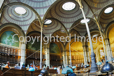 Paris, France- Inside National French Library Oval Reading Room, Bibliotheque National de France, Richelieu Site. / Credit Architect/ J.L. Pascal.