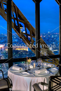 Paris, France, Haute-Cuisine French Restaurant in Eiffel Tower, Jules Verne.  Dining Room with Overview of Trocadero. For Commercial use-Contact: alain.reix@elior.com