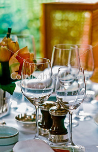 Paris, France - Classical French Restaurant, Detail, Table Setting with Empty Wine Glasses.