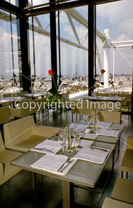 Paris, France, French Cafe/Bistro Restaurant, George, Top of the George Pompidou Museum, inside Dining Room with View of Eiffel Tower