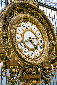 Paris, France, Orsay Museum, Close up, Central Guilded Clock from Old Train Station Era.