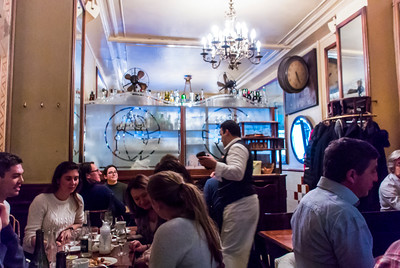 Paris, France, People Sharing Meals inside Traditional French BIstro Restaurant in the Marais, Le Petit Fer à Cheval