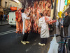 Paris, France, French Butcher Shop Truck delivering Meat Carcasses on Street to Store