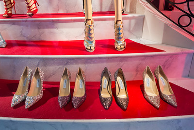 Paris, France, Store Window Display, Jimmy Choo Shoes, Christmas SHopping, Printemps Department Store,